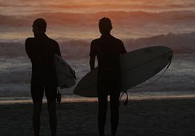 Surfer sunset France