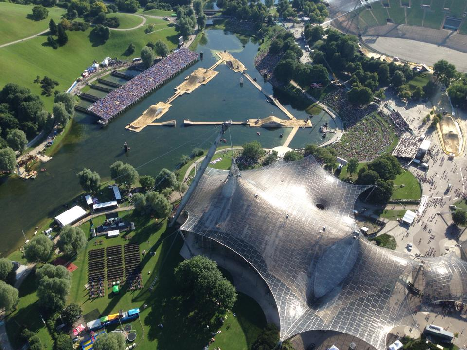 X-Fighters Set Up von oben - Olympiapark