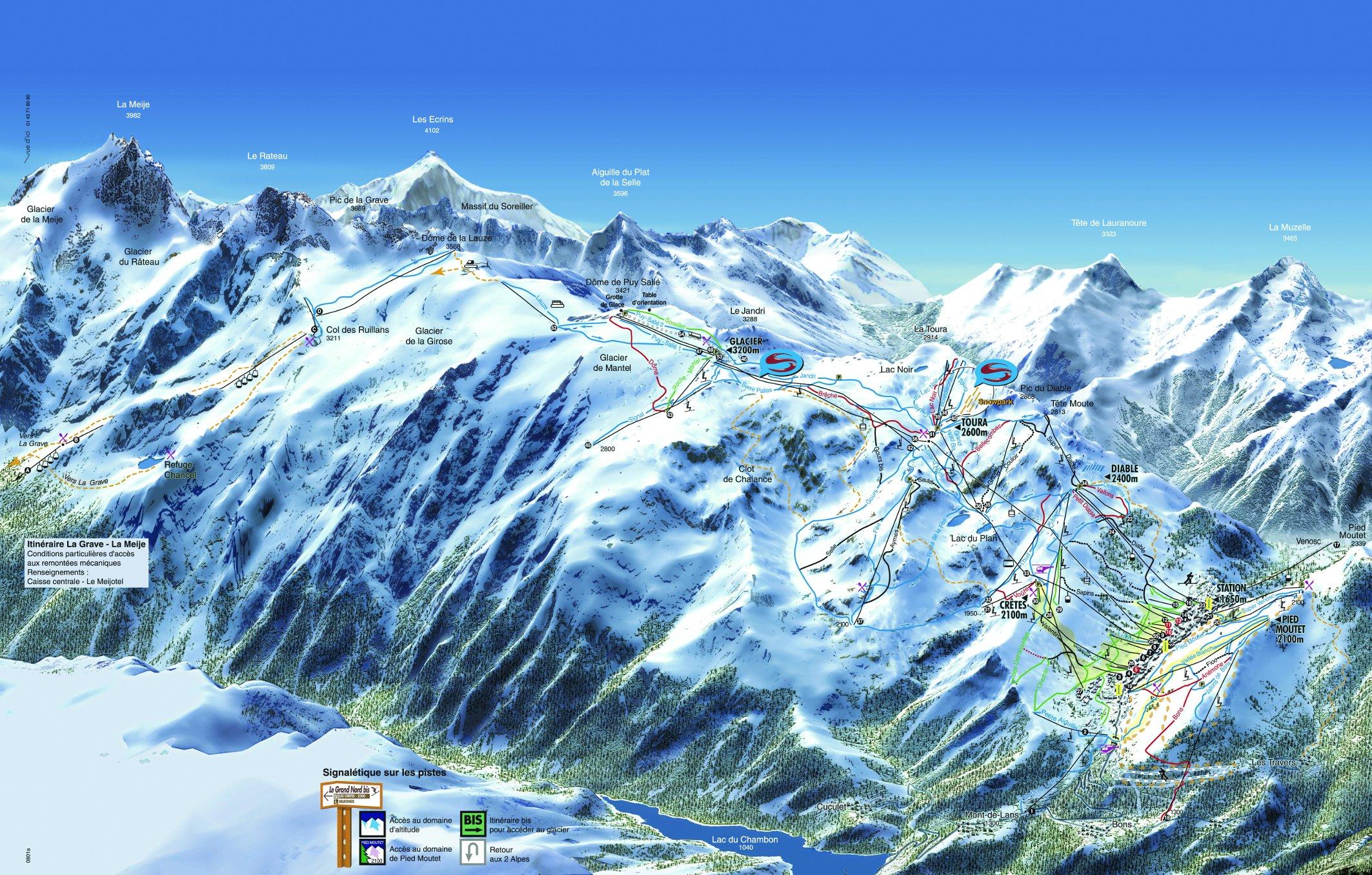 Les 2 Alpes Pistenplan