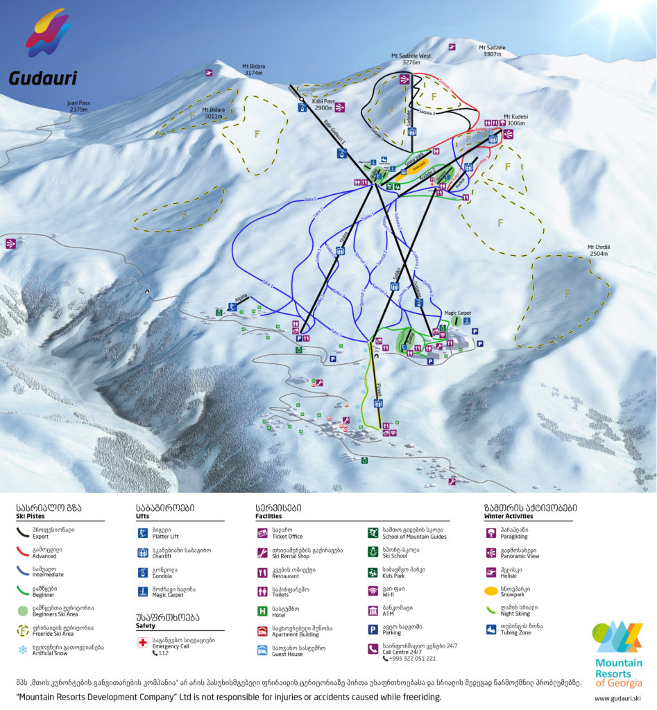 Gudauri Skigebiet Karte (Georgien, ski map) | Travel Delight